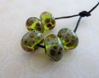 lampwork glass beads, green raku frit set handmade UK