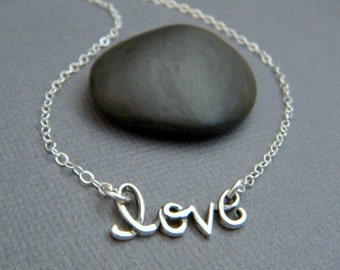 silver love necklace. tiny cursive word. small sterling simple everyday jewelry dainty delicate valentines day romantic special gift for her