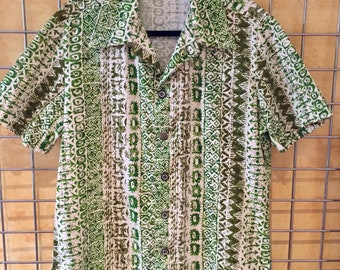 Vintage Aloha Tiki Hawaiian Shirt Barkcloth  M 100% Cotton