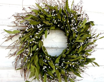 MINI Bay Leaf Wreath-Fall Door Wreath-Winter Wreath-Wall Hanging-Farmhouse Decor-Scented Wreaths-Custom Made-Gift for Mom-Holiday Home Decor