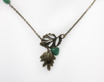 Jade Beaded Necklace, Funky Necklace, Jade Lariat Necklace, Leaf Necklace, Pendant Necklace, Green Necklace, Jade Leaf Necklace, Jade Leaf