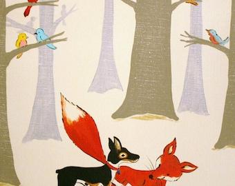 Wild Bird Forest - PRINT 8x10 size, forest, fox, birds