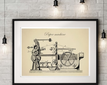 Vintage Paper Machine, Technical Drawing, Gift for Engineer,Industrial Decor, Mechanic Gift, Technology Art