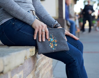 Clutch - Embroidered Gray Wool, Purse, Zippered Leather Bag