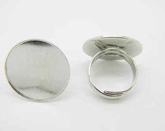 8 x ring silver plated crimp top round 25mm (l1257)