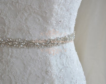 Crystal Bridal Sash, Wedding Dress Belt, Rhinestone Bridal Belt