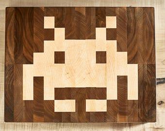 Space Invader end grain cutting board