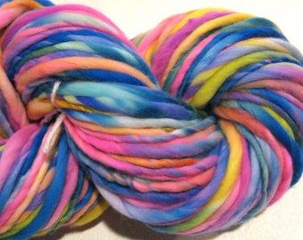 Bulky Handspun Yarn Rainbow Bright 108 yards hand dyed merino neon rainbow yarn waldorf doll hair knitting supplies crochet supplies