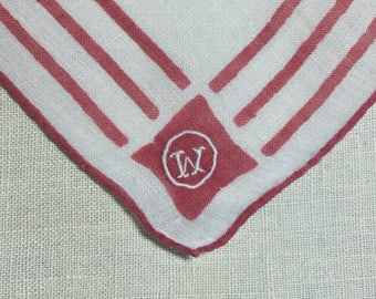 Vintage White Hanky with Red Trim and Initial W - Handkerchief Hankie
