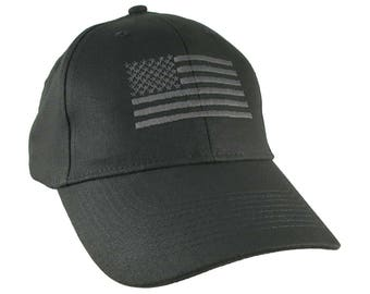 An American US Flag Black Embroidery on an Adjustable Structured Adjustable Black Baseball Cap with Options to Personalize the Side and Back