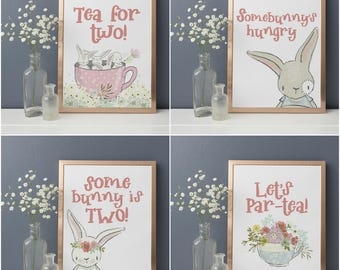 Tea For Two Birthday Signs - Tea Party Birthday - Bunny Birthday - Bunny Party - Second Birthday Decorations - Birthday Party Sign Package