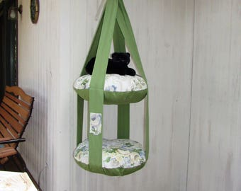 Cat Bed, Flower Garden Double Cat Bed, Kitty Cloud, Hanging Cat Bed, Pet Furniture, Cat Gift, Cat Tree