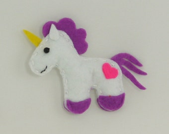 Unicorn Felt Fridge Magnet Purple Handsewn (Kitchen Decoration)