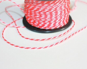 1.5 mm TWISTED RED and WHITE mix Cord = 1 Spool= 55 Yards= 50 Meters of Elegant Polypropylene Rope for Macrame Sewing Crocheting Knitting