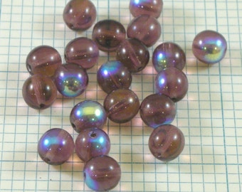 20 8mm Czech Glass Beads - Amethyst AB
