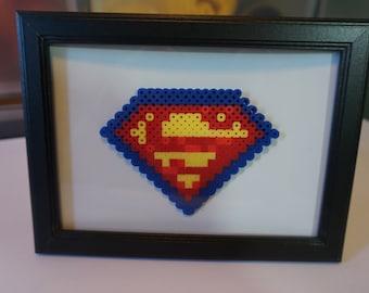 Perler Bead Pixel Art Superman Logo in 5x7 Frame