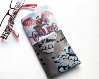 """Original glasses case, steampunk style, multicolored, pattern """"flying machine"""""""