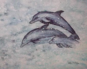 "Three Dolphins 9x12"" mostly watercolor #91"