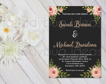 Coral flowers and black background Printable Wedding Invitation.