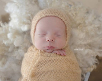 Knitted mohair wrap and Bonnet, Kitted mohair bonnet and Wrap