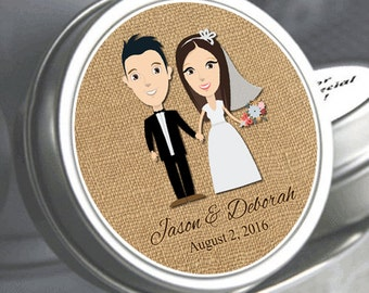 Personalized Customized Cute Wedding Couple Holding Hands Mint Tins - Custom Hair Color - Custom Eye Color - Bride and Groom Favors