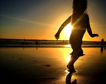 Playing on the Beach Silhouette Photograph Print, Sunset Manhattan Beach, California, Ocean, Child, Water, Home Decor, Wall Art, Photography