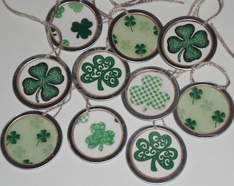 10 Assorted St. Patrick's Shamrocks 1 1/4 Inch Metal Rimmed Hang Tags - Tie Ons - Gift Tag - Scrapbooking - Miniature Tree Ornaments