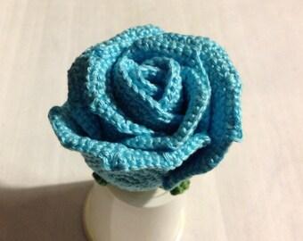 Crochet Rose Blue