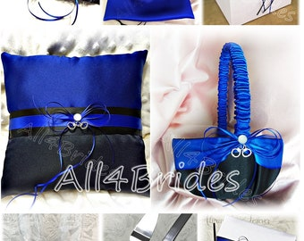 Thin Blue Line handcuff charm wedding decorations, glasses, cake set, garters, pillow, basket, guest book, pen, bag royal blue and black.