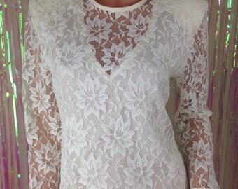 Vtg 80s lace blouse top shirt white Katie petite womens sz 12 T117