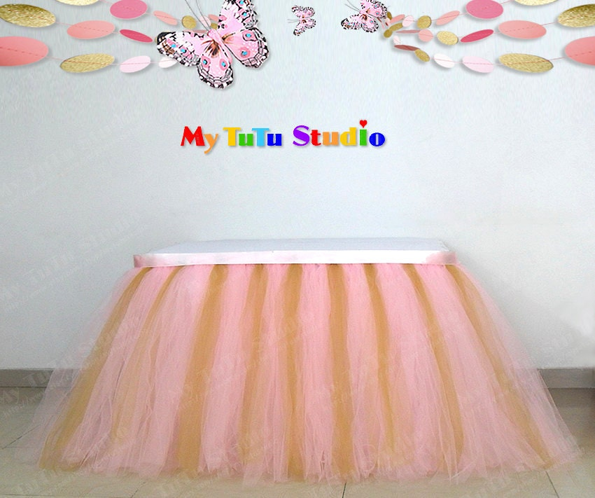 Pink Gold Mixture Tulle Table Skirt TuTu For