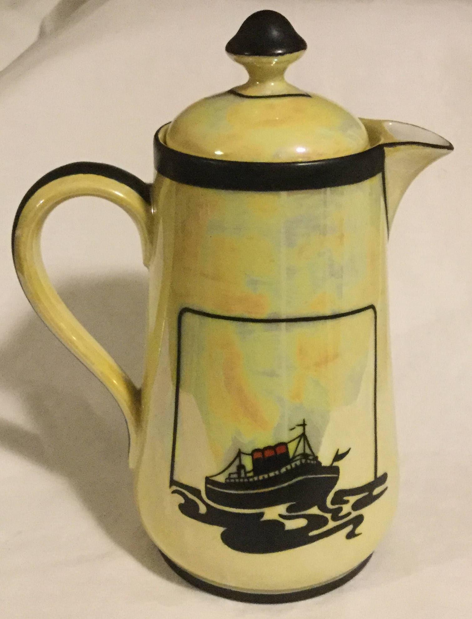 Antique Art Deco French Lusterware Ocean Liner Teapot