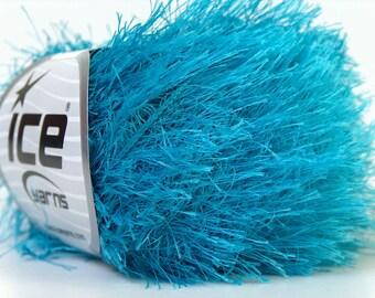 Turquoise Blue Eyelash Yarn #22778 Ice solid color turquoise Fun Fur 50 gram 82 Yards