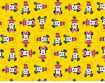 MIckey & Minnie Mouse 8527010 Cotton Fabric by Camelot! 4 Options [Choose Your Cut Size]