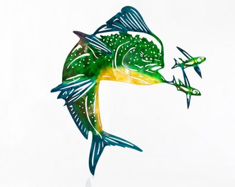 Mahi Mahi Wall Art, Mahi Metal Art, Dorado Art, Metal Ocean Art, Father's Day Gift, Metal Wall Decor, Metal Fish Decor, Gift for Husband