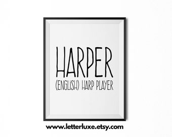 Harper Name Meaning Art - Printable Baby Shower Gift - Nursery Printable - Definition Digital Print - Nursery Decor Typography Wall Decor