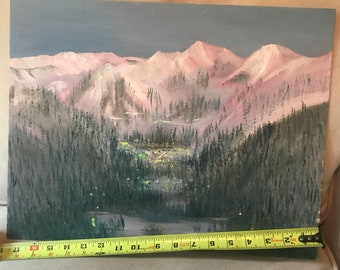 Vintage oil painting , blue ridge mountains