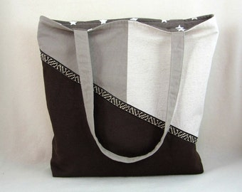 Fabric tote bag, brown and beige , casual style bag, handmade cotton bag, everyday tote, gift idea for her, made in France,