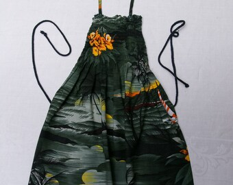 Little Girl's Aprons - Tropical Print Aprons - Green Dress Aprons - Twin Aprons - Two for One Aprons