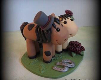 Wedding Cake Topper, Horse, Animal, Pony - Custom Polymer Clay Personalized Wedding/Anniversary Keepsake