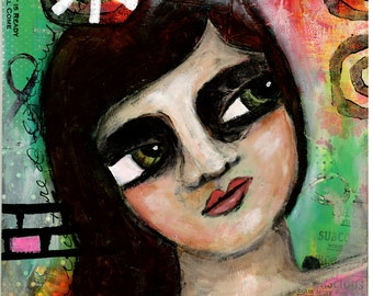 Truth and Faith Girl Portrait, Mixed Media Original Painting, 8x10 inches, Bright Colors, Woman Face
