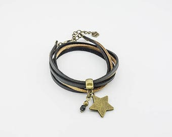Double bracelet, Star, brass, suede Black Suede and Brown glitter glass crystal, modern style