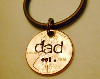 Dad Est 2018 Keychain, New Daddy, Dad Established In Year, DAD Keychain, First 1st Fathers Day Gift, Dad Since, Dad Est Year, Penny Keychain