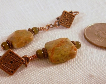 Earrings, Green Autumn Jasper, Copper, Catseye   4159B