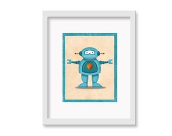 """Robot Print """"Fred"""" - 8"""" x 10"""" Children's Decor Wall Art Print - Children's Retro Robot Theme Room Decor"""