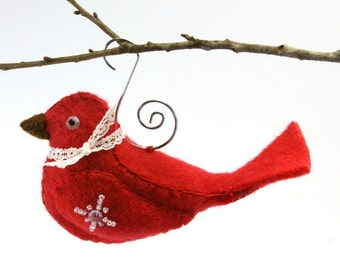 Felt Bird Christmas Ornament Pattern PDF