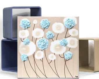 Small Wall Art Decor, Blue and Brown Wall Decor, Textured Painting of Flowers on Canvas - Select a Size