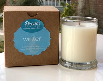 Winter Scent, Organic Coconut Wax Candle, Wood Wicks, Scented Oils, All Natural, Phthalate Free, Charitable Cause, Handmade