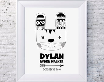 Illustrated Birth Announcement Print TRIBAL RABBIT MONO / Kids Room Decor/ Kids Wall Art / Nursery Wall Art / Personalised Prints