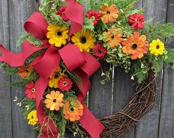 Door Wreath, Red, Yellow, Orange Wreath for Spring and Summer